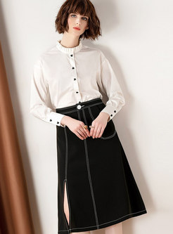 White Long Sleeve Buttoned Blouse & High Waist Split Midi Skirt