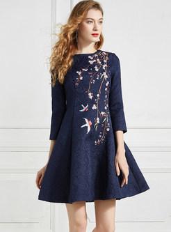 O-neck Three Quarters Sleeve Embroidered Dress