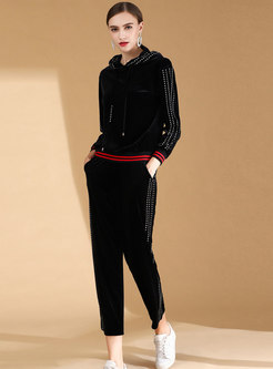 Casual Hooded Long Sleeve Hoodies & Velvet Slim Pencil Pants