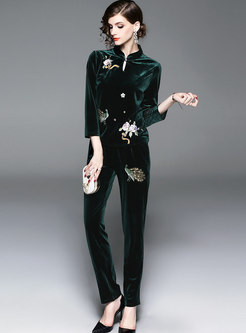 Green Mandarin Collar Embroidered Top & High-rise Skinny Pants