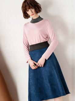 Fashion High Neck Long Sleeve Top & High Waist Skirt