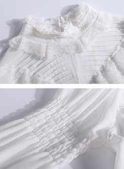Chic White Ruffled Collar Lantern Sleeve Pullover Blouse