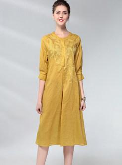 Ethnic O-neck Three Quarters Sleeve Print Shift Dress