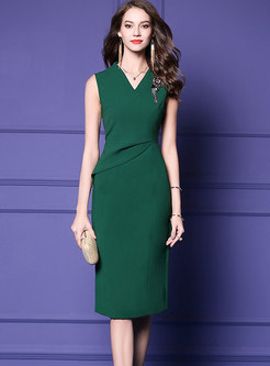Green V-neck Sleeveless High Waist Sheath Dress