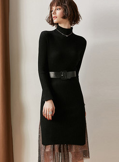 Pure Color High Neck Belted Sheath Long Sweater & Stars Print Gauze Skirt