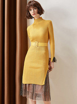Yellow High Neck Belted Sheath Long Sweater & Stars Print Gauze Skirt