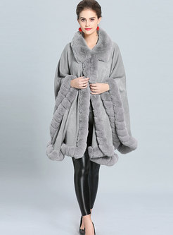 Winter Solid Color Fur Collar Asymmetric Thick Coat