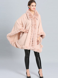 Chic Solid Color Fur Collar Asymmetric Thick Coat
