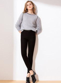 Winter Black Slim Thick Pencil Pants