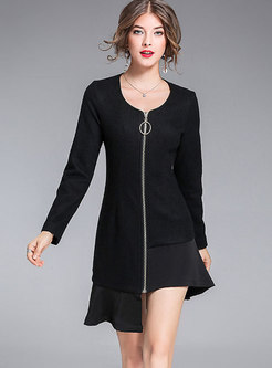 Woolen Splicing O-neck Asymmetric Zipper Slim Dress