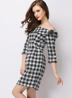 Fashion Slash Neck Houndstooth Woolen Bodycon Dress
