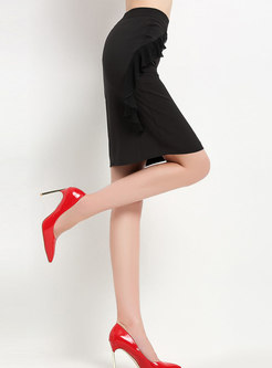 Chic Splicing High Waist Falbal Sheath Skirt
