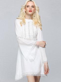 Brief White Long Sleeve High Waist Skater Dress