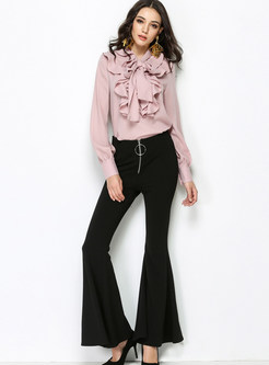 Casual High Waist Slim Long Flare Pants