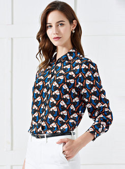 Chic Print Lapel Single-breasted Silk Blouse