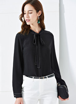 Brief Tie-collar Top Stitched Blouse