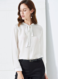 White Tie-collar Top Stitched Blouse