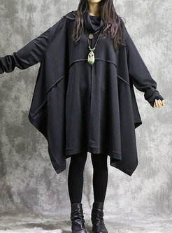 Fashion Plus Size Bat Sleeve Loose Midi Dress