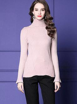 Autumn Pink Turtle Neck Woolen Slim Bottoming Sweater