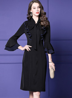 Black Solid Flare Sleeve High Waist Sheath Dress