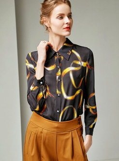 Stylish Turn-down Collar Button All-matched Blouse