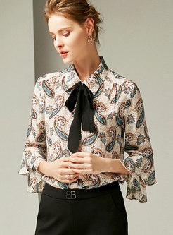 Turn-down Collar Bowknot Flare Sleeve Silk Blouse