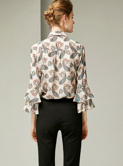 Turn-down Collar Bowknot Flare Sleeve Silk Blouse