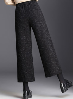 Brief Elastic High Waist Casual Wide Leg Pants