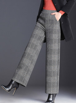 Casual Plus Size Woolen Plaid Loose Wide Leg Pants