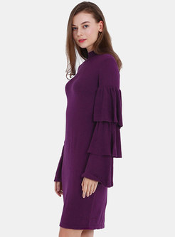 Chic Pure Color Flare Sleeve Sheath Sweater Dress