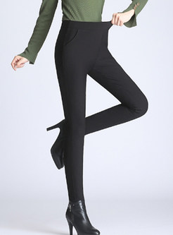 Brief Solid Color Thermal Slim Pencil Pants