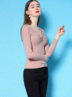 V-neck Long Sleeve Sheath Pullover Sweater