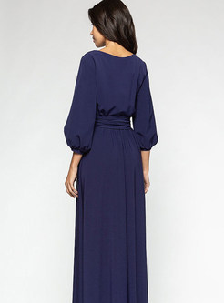 O-neck Lantern Sleeve Solid Color Maxi Dress