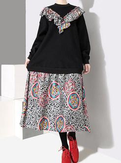Casual Plush Sweatshirt Splicing Print Shift Dress