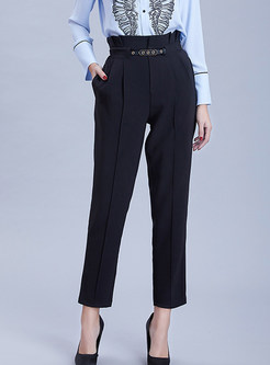 Stylish High Waist Slim Solid Color Harem Pants