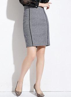Chic Grid High Waist Sheath Skirt