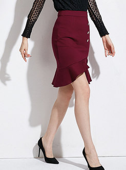 Wine Red High Waist Falbal Sheath Skirt