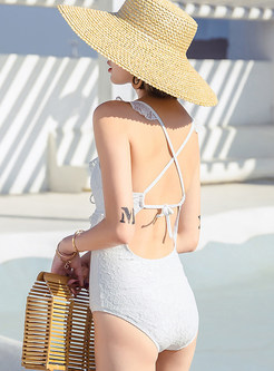 Sexy Solid Color Deep V-neck Tied One Piece Swimwear