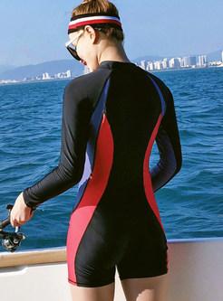 Color-blocked Long Sleeve Conservative Swimwear