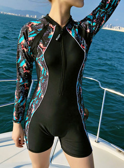 Long Sleeve Color-blocked Print Zippered Swimwear
