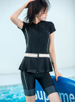 Fashion Short Sleeve Falbala Splicing Sheath Swimwear