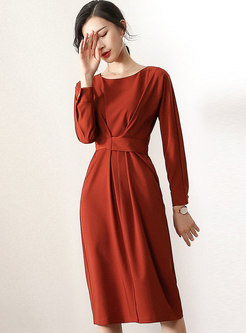 Pure Color Gathered Waist Slit A Line Dress
