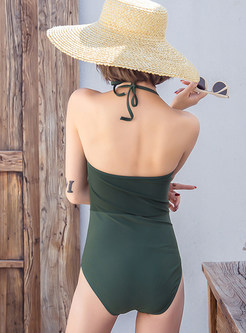 Sexy Drawstring Halter Tied One Piece Swimwear