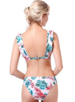Fashion Sexy Falbala Print Bikini