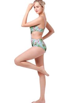 Trendy Color-blocked Print One Piece Swimwear