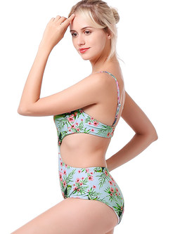 Trendy Color-blocked Print One Piece Swimwear