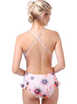 Sexy Falbala Print Backless One Piece Swimwear