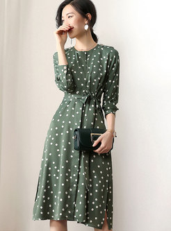 Green Polka Dot Belted Side-slit Slim Dress