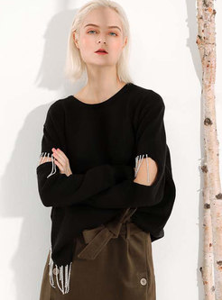 Chic Black Knitted Fringed Split Asymmetric Sweater