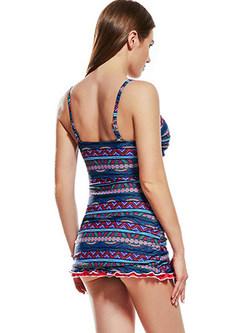 Trendy Striped Print Falbala One Piece Swimwear